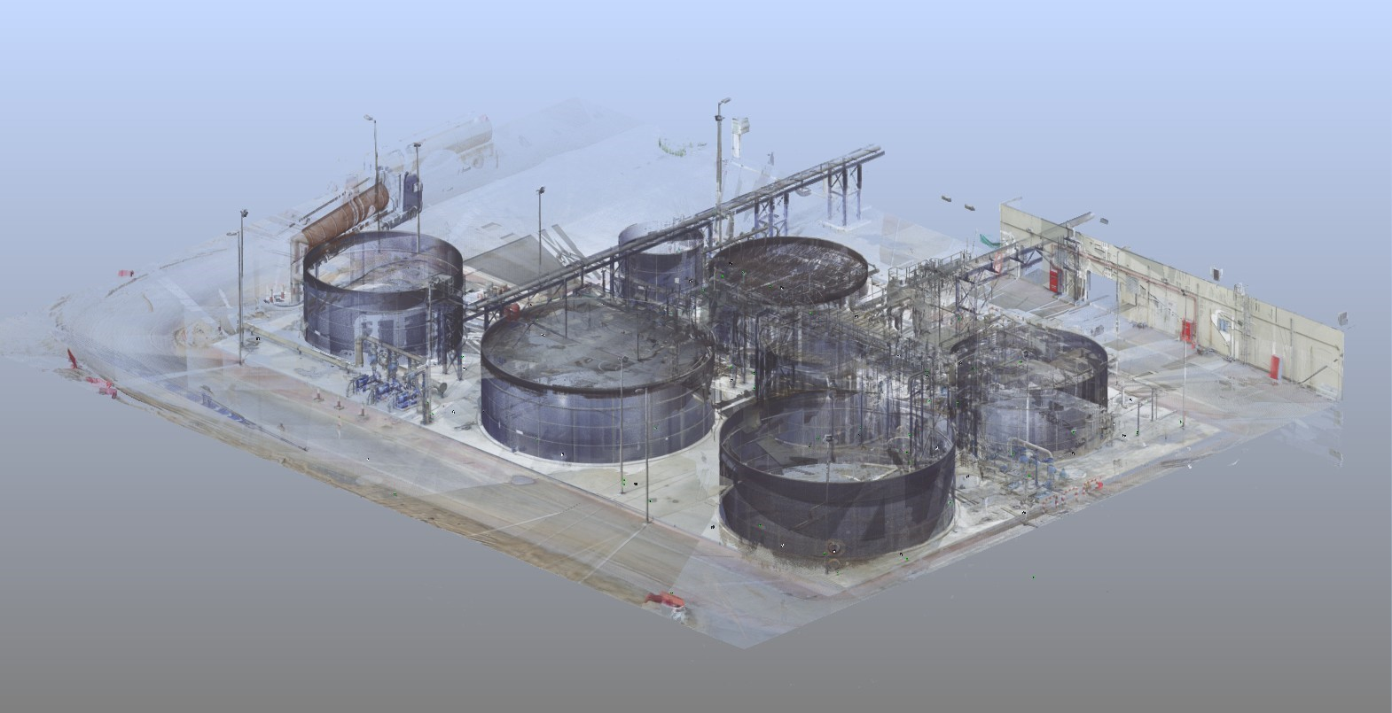 Point cloud of the plant created/registered in Faro Scene software